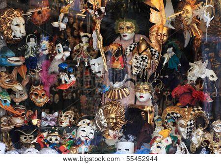 Masks Shop Window In Venice