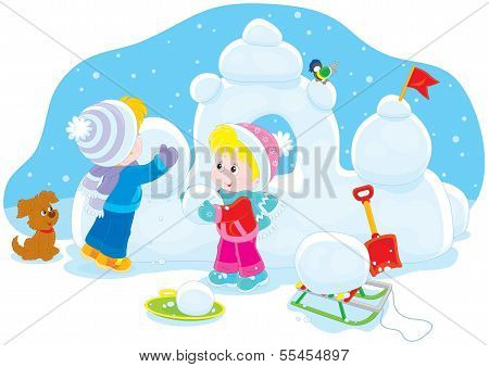 Children building a snow fort