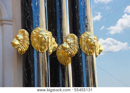 Gold Heads Of Lions Adorn The Caesar's Palace In Las Vegas