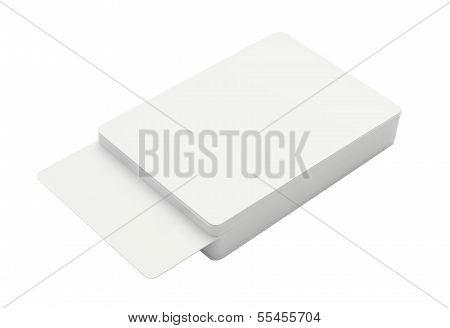 Playing empty card stack on white background.
