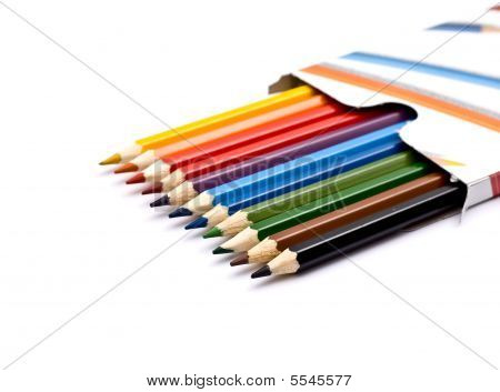 A box of colorful pencils