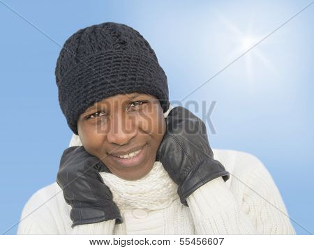 Man facing the cold during a sunny winter day