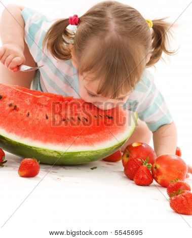 Little Girl With Strawberry And Watermelon