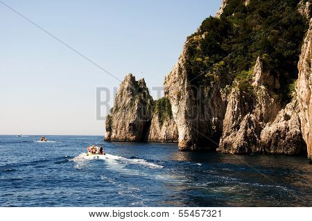 Faraglioni Rock formation on island Capri, Italy