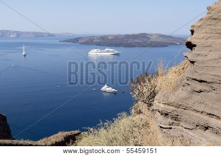 View of Thira at Santorini island.