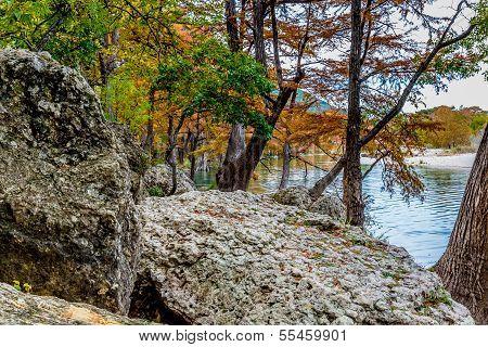 Large Boulders on the Frio River at Garner State Park, Texas