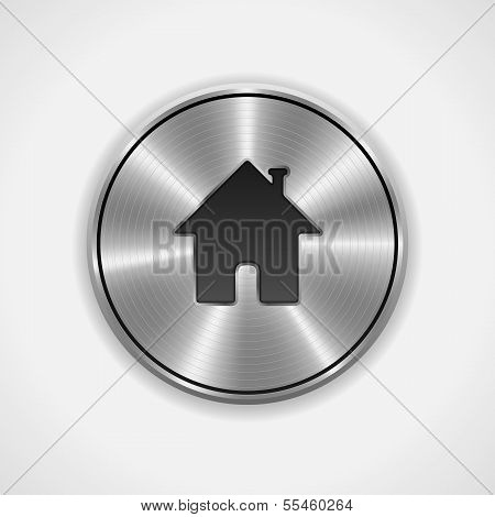 Home Button, Icon. Metal, Round. Vector Illustration
