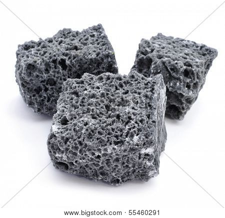 some lumps of candy coal on a white background
