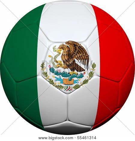 Mexican Flag With Soccer Ball