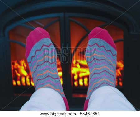 A Pair Of Feet And A Cozy Fire