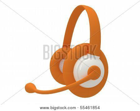 View of one orange headset. 3d render.