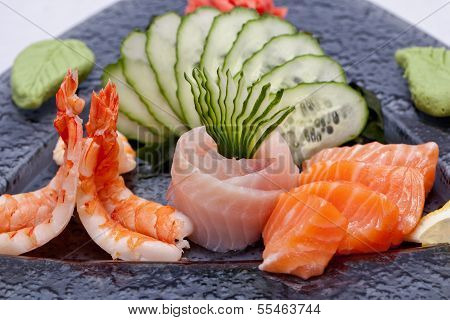 Sashimi On Black Plate
