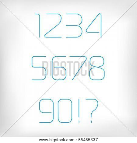 Modern minimal rounded font alphabet (numbers/figures;  Sans-serif display elegant light font, vector alphabet letters design.Thin, light version