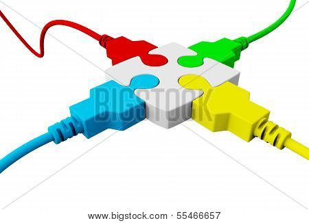 A Piece Of The Puzzle Connected With Four Wires Colored Red, Blue, Green And Yellow