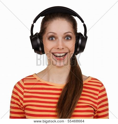Cheerful Young Woman With Stereo Headphones