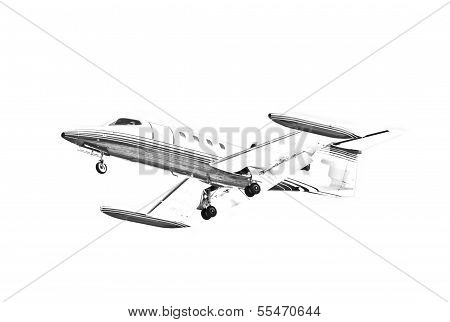 Learjet in Black and White
