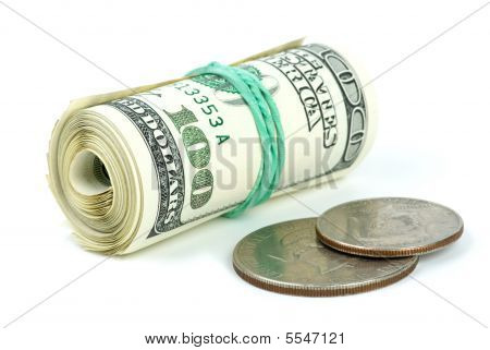 Rolled $100 Bills And  Coins