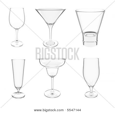 Various Glasses On White