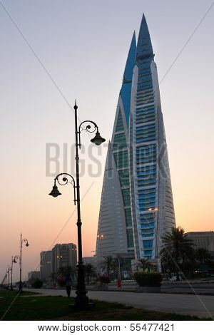 MANAMA, BAHRAIN - AUGUST 08: Bahrain World Trade Center - The skyscraper is a 240-meter high and the first skyscraper in the world to integrate wind turbines into its design, on August 8, 2008 in Bahrain.