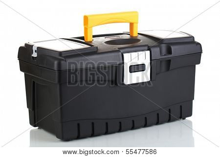 Black toolbox isolated on white