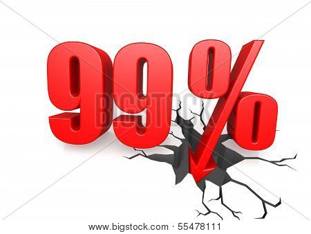 Ninety nine percent down