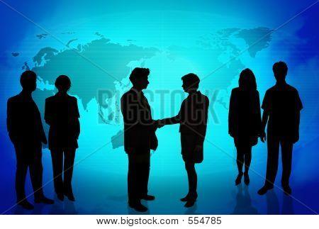 Geschäftsleute vor einer Welt Karte blau