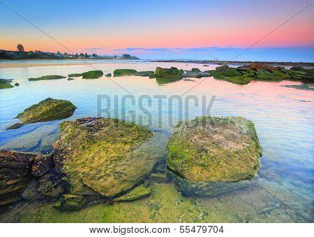 Moss Covered Rocks On The Reef Shelf, Australia
