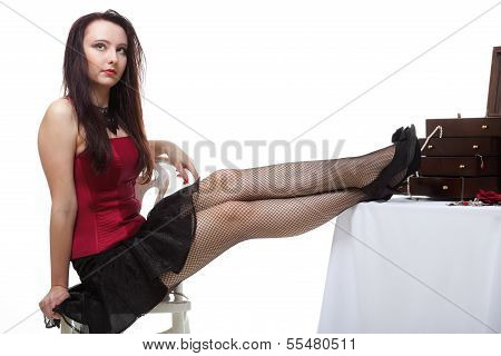 Showgirl Woman Dance In Red Corset Chair White Isolated