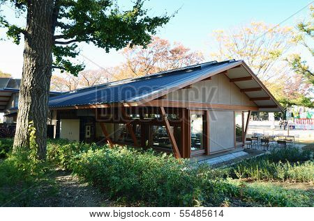 TOKYO - NOVEMBER 22: Construction of a beautiful wooden house in on November22, 2013 in Ueno Park