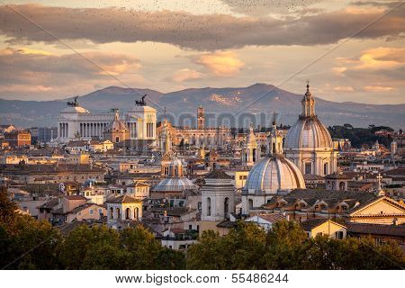 Panorama Of Rome And In The Background The Altar Of The Fatherland.