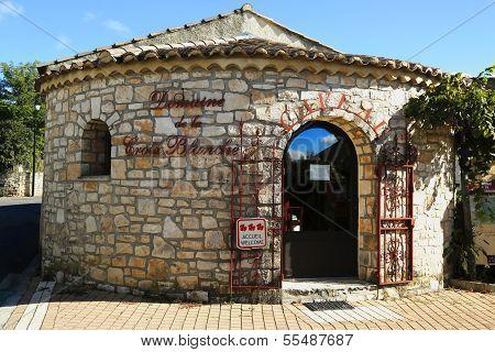 Cellar at the Domaine de la Croix Blanche winery in Ardeche, France