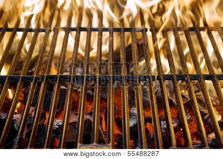Hot Grill And Burning Charcoal