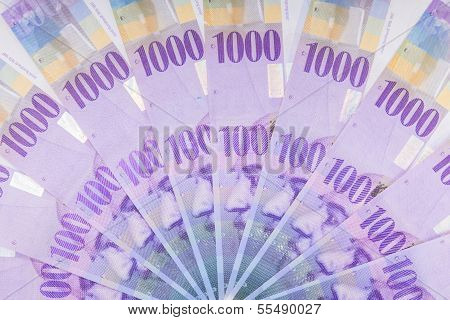 Swiss Francs Banknotes  Spread Over The Floor - Switzerland Currency