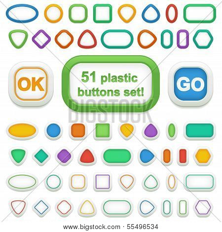 Set Of 51 Geometric 3D Plastic Buttons and infographic elements