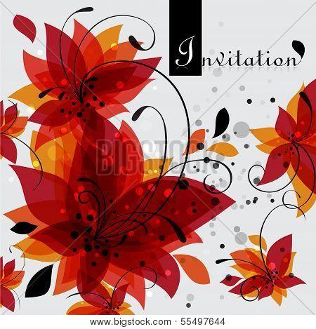 Floral Invitation Card, Vector Illustration