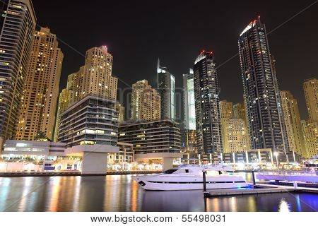 Night Illumination At Dubai Marina. It Is An Artificial Canal City, Built Along A Two Mile (3 Km) St