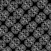 pic of day dead skull  - Day of the Dead skull tile repeating pattern - JPG
