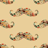stock photo of tobacco-pipe  - Vector Hipster Mustache Colorful Seamless Pattern Background - JPG