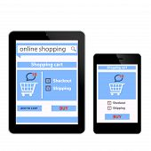 Modern mobile Smart phone with online shopping application on screen e-commerce concept Technology