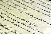 foto of scribes  - Old grunge paper with writing calligraphic handwriting - JPG