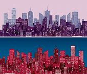 stock photo of nightfall  - city skylines in  purple and red versions - JPG
