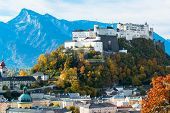 foto of mozart  - General view of the historical center of Salzburg - JPG