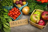 stock photo of fruit  - Fresh organic farmers market fruit and vegetable on display - JPG