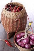 foto of red shallot  - Shallot and dried red hot chili ingredient for thai food - JPG