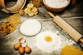 stock photo of pasta  - Ingredient for making italian pasta - JPG