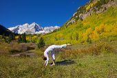 Yoga at Maroon Bells in Fall