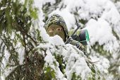 image of backwoods  - Hunter hidden in the backwoods in winter - JPG