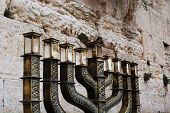 picture of israel people  - Hanukiah in the holy Western Wall in Jerusalem - JPG