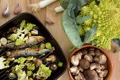 stock photo of romanesco  - Sardines with romanesco broccoli leek and shitake mushrooms - JPG
