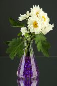 Beautiful flowers in vases with hydrogel on table on gray background poster